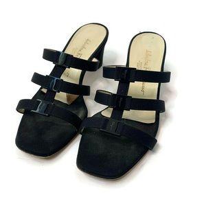 Salvatore Ferragamo Black Strappy Sandal Heels